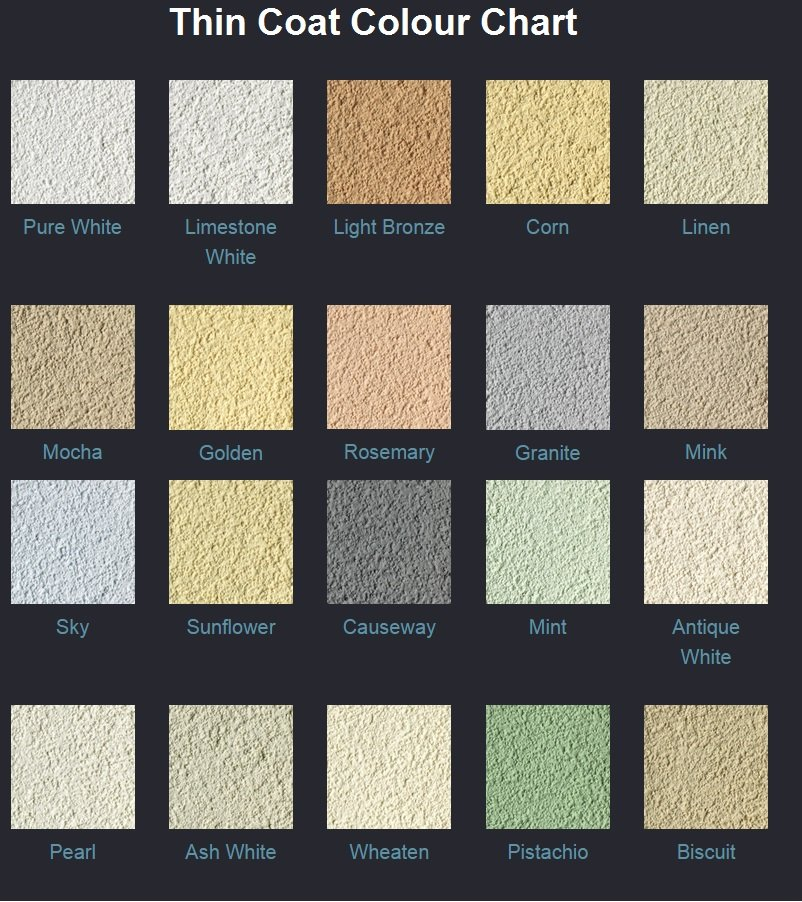 K Rend Thin Coat Colour Chart